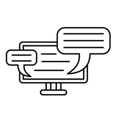 monitor chat icon outline style vector image