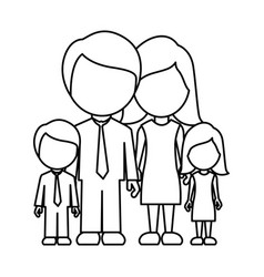 Monochrome contour faceless family in formal vector