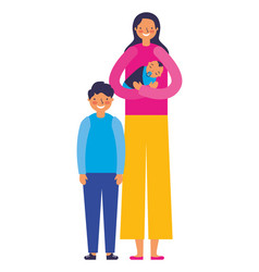 mother carrying baby and son vector image