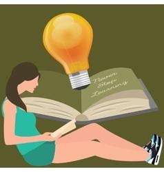 never stop learning girl reads book light bulb vector image