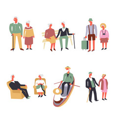 Old people fun leisure and sport activity vector