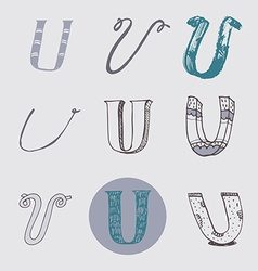 Original letters U set isolated on light gray vector