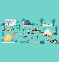 Outdoor camping adventure travel hiking vector