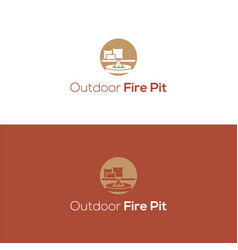 Outdoor fire pit logo and icon vector