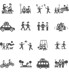 Outing Icons Set vector
