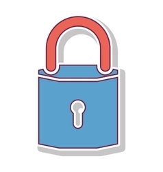Padlock with blue body and shackle vector