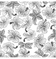Pattern with hibiscus vector