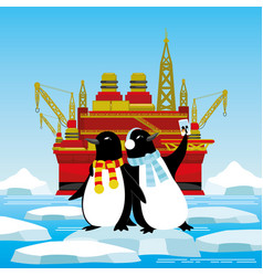 penguins on an ice floe are photographed vector image
