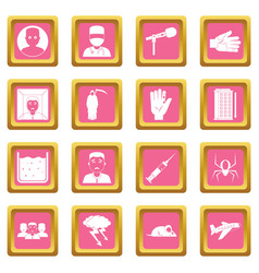 Phobia symbols icons pink vector