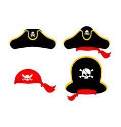 pirates cap set hat buccaneer bones and skull vector image