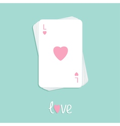 Playing card love pink heart stack Flat vector