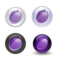 Plum button set web 20 icons vector