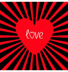 Red heart with sunburst love card vector