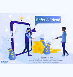 Refer a friend web template vector