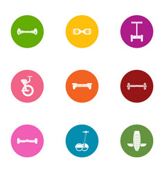 riding icons set flat style vector image