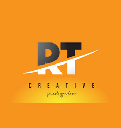 Rt r t letter modern logo design with yellow vector