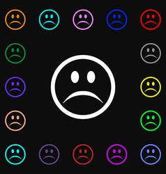 Sad face Sadness depression icon sign Lots of vector
