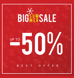 sale of big summer icon in red color vector image