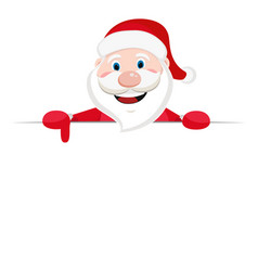 santa claus looks out from behind the white sheet vector image