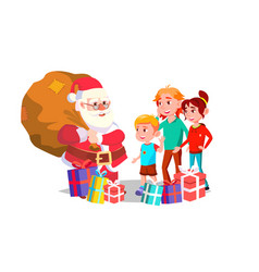 santa claus with children cheerful kids vector image