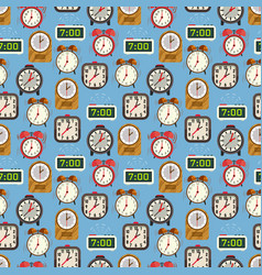 seamless pattern with colorful alarm clocks on vector image
