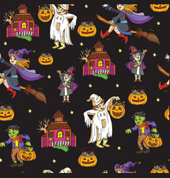 seamless pattern with halloween characters vector image