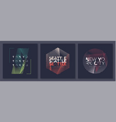 set abstract geometric t-shirt designs vector image