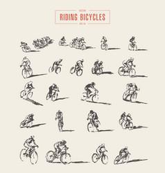 Set hand drawn bicyclist rider men sketch vector