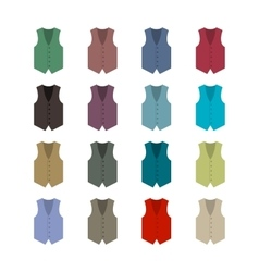 Set of colored waistcoats vector