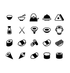 set of monochrome japanese food and sushi icons vector image