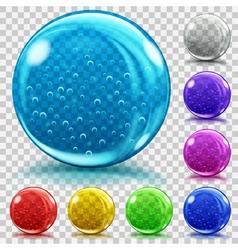 Set transparent glass spheres vector