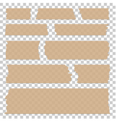Set transparent tape peaces isolated beige vector