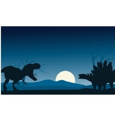 Silhouette of stegosaurus and T-Rex vector