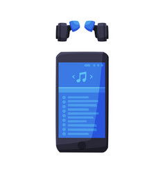smartphone with music media player interface and vector image