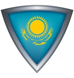Steel shield with flag kazakhstan vector