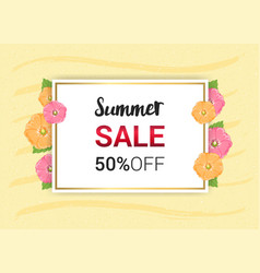 summer flowers frame or summer floral design on vector image
