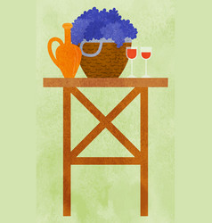 table with basket grapes and wine glass vector image
