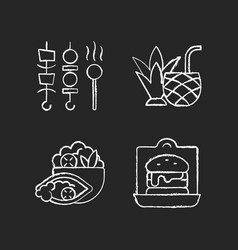 takeaway and delivery option chalk white icons vector image