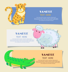 three horizontal cards with animals teaching image vector image