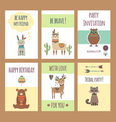 tribal animals cards cute zoo characters squirrel vector image