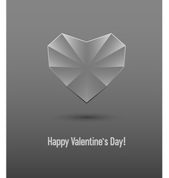 Valentines day card with glass heart vector
