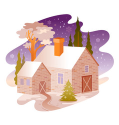 winter snow landscape house from four seasons vector image