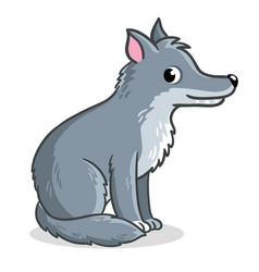 wolf sits on a white background vector image
