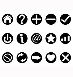 black interface button icons vector image