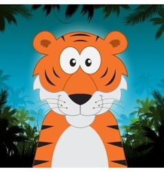 Cute cartoon tiger in front of jungle background vector image vector image