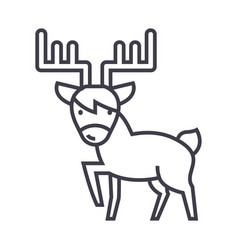 cute elk line icon sign on vector image vector image