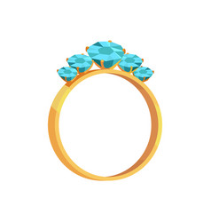 gold ring with turquoise gems isolated vector image
