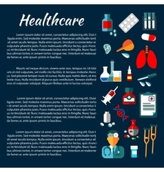Healthcare banner design with flat medical icons vector image vector image