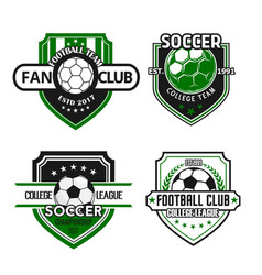 icons for soccer team football fan club vector image
