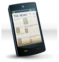 Newspaper inside pocket mobile phone vector